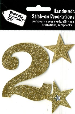 Large,Gold,Glitter,Number,2,Craft, Toppers, Large Numbers, Gold, Glitter