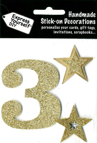 Large,Gold,Glitter,Number,3,Craft, Toppers, Large Numbers, Gold, Glitter