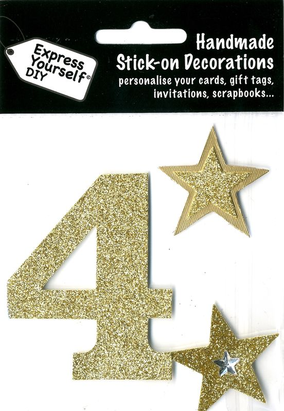 Large Gold Glitter Number 4 - product images  of
