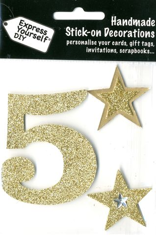 Large,Gold,Glitter,Number,5,Craft, Toppers, Large Numbers, Gold, Glitter