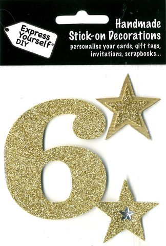 Large,Gold,Glitter,Number,6,Craft, Toppers, Large Numbers, Gold, Glitter