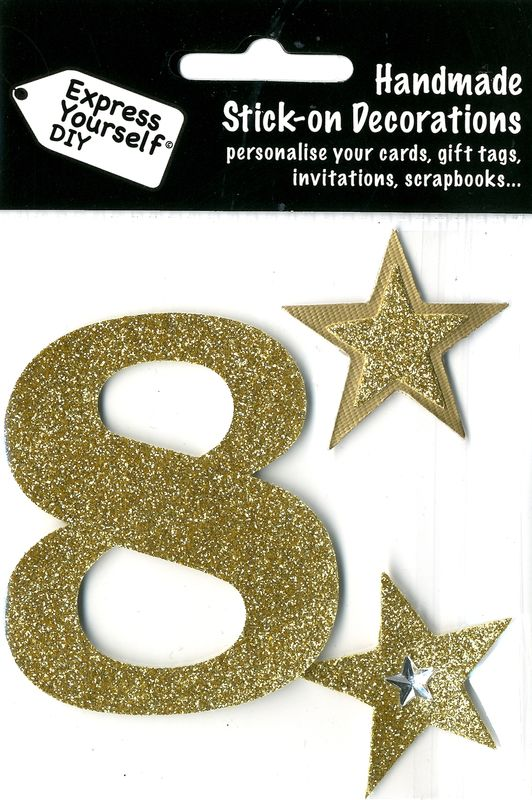 Large Gold Glitter Number 8 - product images  of
