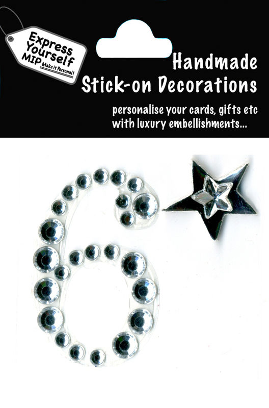Handmade stick on numbers - Mini Rhinestone Number 6 - product images