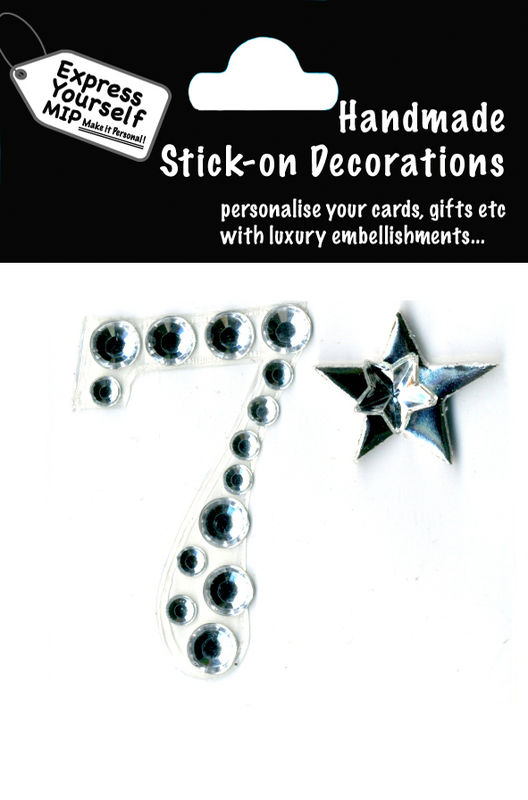 Handmade stick on numbers - Mini Rhinestone Number 7 - product images