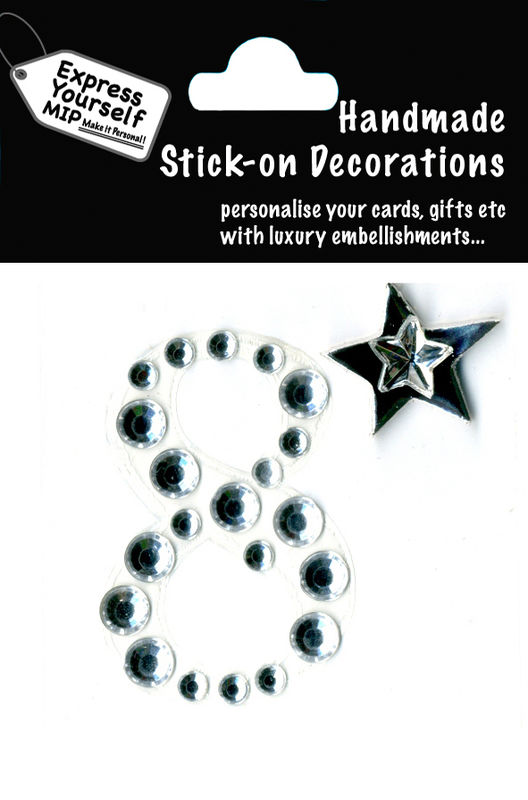Handmade stick on numbers - Mini Rhinestone Number 8 - product images