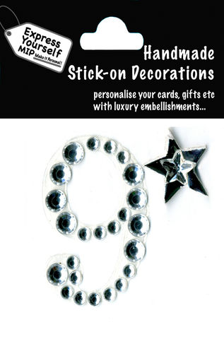 Handmade,stick,on,numbers,-,Mini,Rhinestone,Number,9,stick-on numbers, craft, handmade, Rhinestone , Star