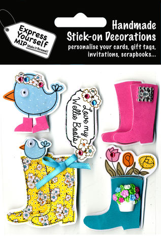 Welly,Boots,&,Birds,Craft, Birds, Wellington Boots, Flowers, Animal,Topper