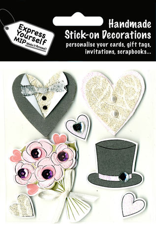 Wedding,-,Top,Hat,&,Tuxedo,Craft, Wedding, Top Hat, Tuxedo, Hearts, Flowers, Occasion, Couple, Topper