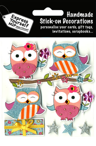 Owls,On,Branch,Craft, Owls ,Tree Branch, Present, Stars, Flower, Animal, Topper