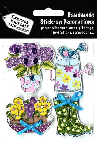 Gardening,Items,Craft, Gardening, Bird, Boots, Flowers, Pot, Watering Can, Topper