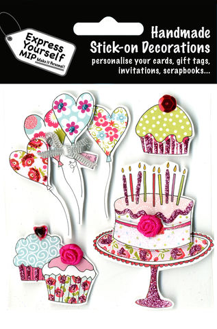 Party,Cakes,&,Balloons,Craft, Party Cakes, Balloons, Heart Shape, Candles, Topper