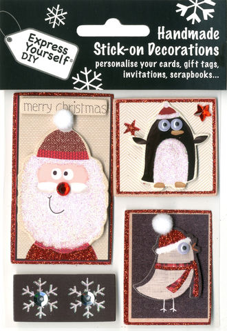 Santa,,Penguin,&,Robin,Craft, Christmas, Toppers,   Santa, Penguin, Robin