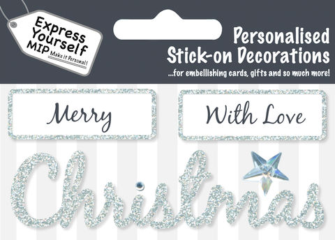 Make,It,Personal,(Caption,Topper,Christmas),-,Merry/With,Love/Christmas,(Silver),Craft, DIY, MIP, Make It Personal, Card Making, Personalised, Caption Toppers Xmas, Words, Stick On Decoration, Merry, With Love, Christmas, Silver