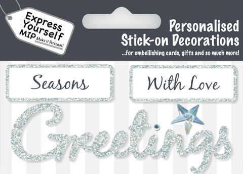 Make,It,Personal,(Caption,Topper,Christmas),-,Season/Greetings,(Silver),Craft, DIY, MIP, Make It Personal, Card Making, Personalised, Caption Toppers Xmas, Words, Stick On Decoration, Seasons Greetings, Christmas, Silver