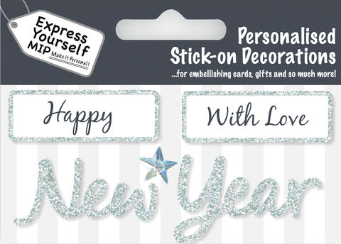 Make,It,Personal,(Caption,Topper,Christmas),-,Happy/New,Year,(Silver),Craft, DIY, MIP, Make It Personal, Card Making, Personalised, Caption Toppers Xmas, Words, Stick On Decoration, Happy New Year, Silver