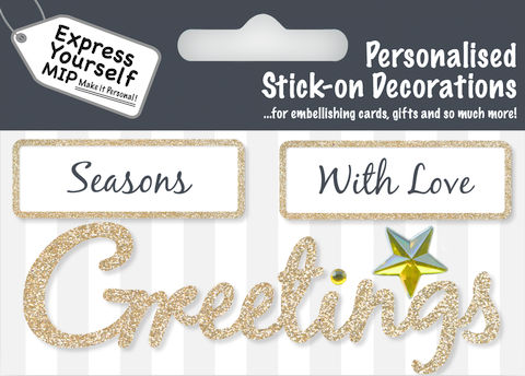 Make,It,Personal,(Caption,Topper,Christmas),-,Season/Greetings,(Gold),Craft, DIY, MIP, Make It Personal, Card Making, Personalised, Caption Toppers Xmas, Words, Stick On Decoration, Seasons Greetings, Christmas, Gold