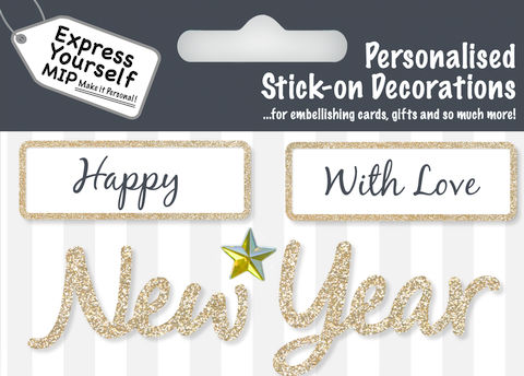 Make,It,Personal,(Caption,Topper,Christmas),-,Happy/New,Year,(Gold),Craft, DIY, MIP, Make It Personal, Card Making, Personalised, Caption Toppers Xmas, Words, Stick On Decoration, Happy New Year, Gold