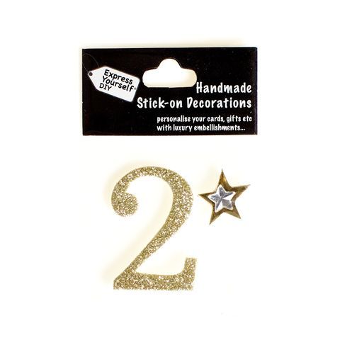 Handmade,stick,on,numbers,-,Mini,Gold,Number,2,stick-on numbers, craft, handmade, glitter, gold glitter