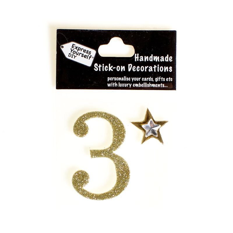 Handmade stick on numbers - Mini Gold Number 3 - product images