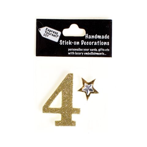 Handmade,stick,on,numbers,-,Mini,Gold,Number,4,stick-on numbers, craft, handmade, glitter, gold glitter