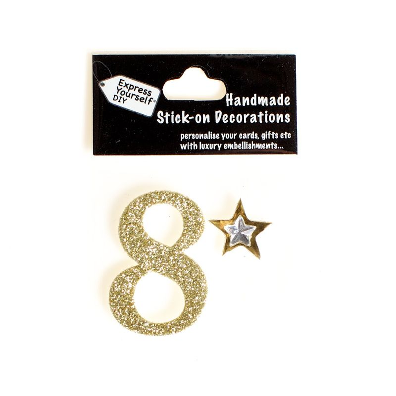 Handmade stick on numbers - Mini Gold Number 8 - product images