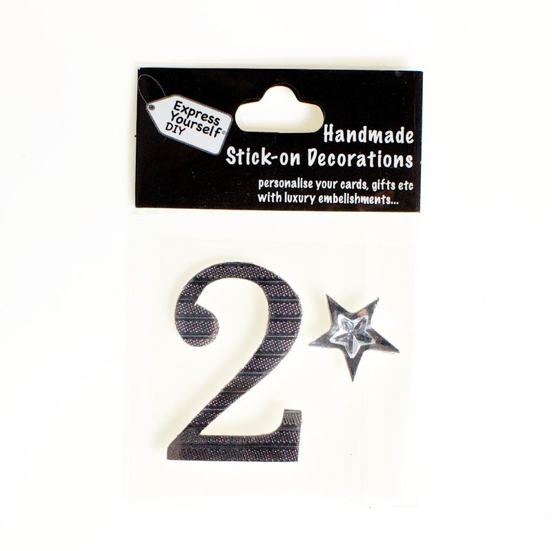 Handmade stick on numbers - Mini Silver Foiled Number 2 - product images
