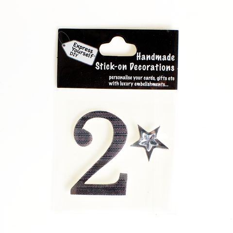 Handmade,stick,on,numbers,-,Mini,Silver,Foiled,Number,2,stick-on numbers, craft, handmade, Silver, foil