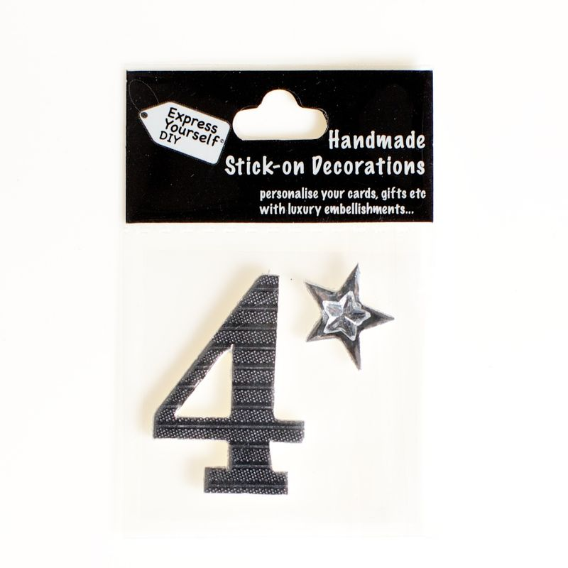 Handmade stick on numbers - Mini Silver Foiled Number 4 - product images