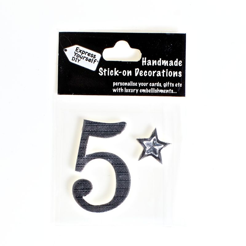 Handmade stick on numbers - Mini Silver Foiled Number 5 - product images