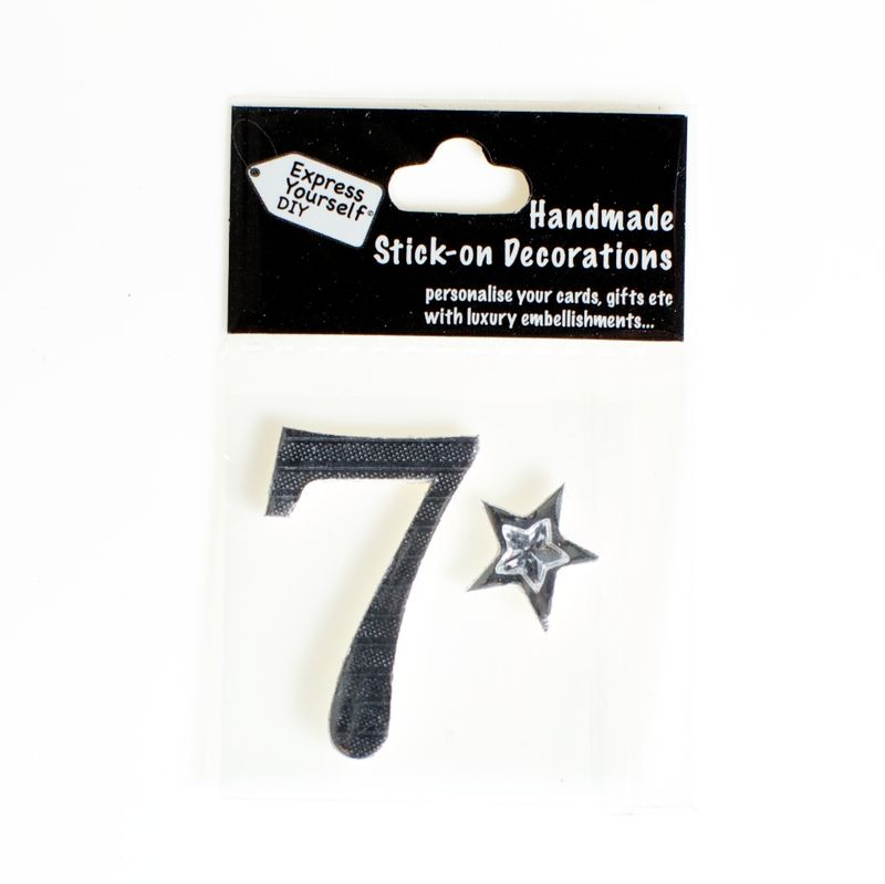 Handmade stick on numbers - Mini Silver Foiled Number 7 - product images