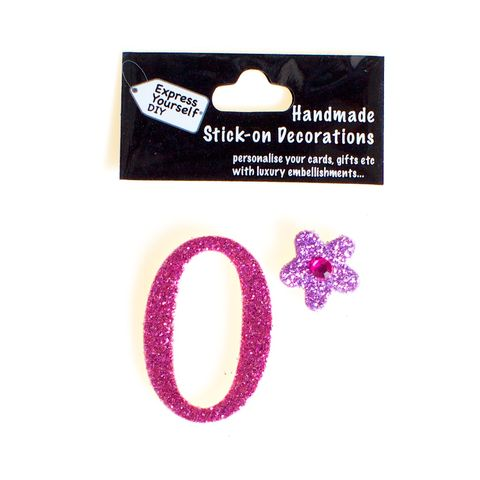 Handmade,stick,on,numbers,-,Mini,Pink,Number,0,stick-on numbers, craft, handmade, glitter, Pink glitter