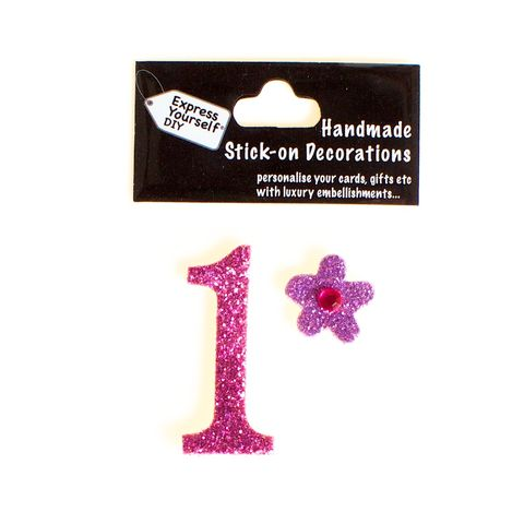 Handmade,stick,on,numbers,-,Mini,Pink,Number,1,stick-on numbers, craft, handmade, glitter, Pink glitter