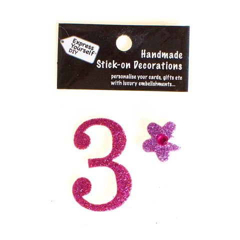 Handmade,stick,on,numbers,-,Mini,Pink,Number,3,stick-on numbers, craft, handmade, glitter, Pink glitter