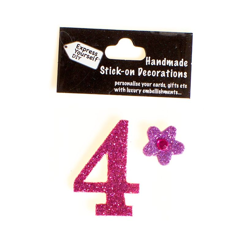 Handmade stick on numbers - Mini Pink Number 4 - product images