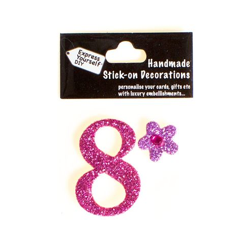 Handmade,stick,on,numbers,-,Mini,Pink,Number,8,stick-on numbers, craft, handmade, glitter, Pink glitter