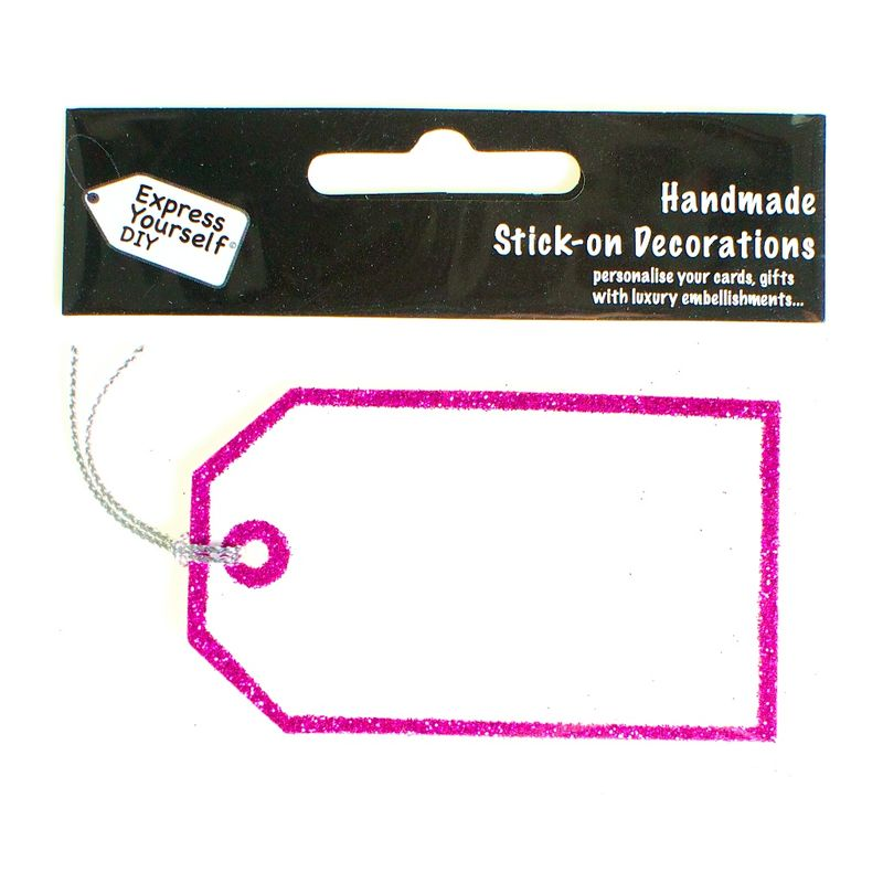 Handmade stick on tags - Mini Pink glitter tag - product images
