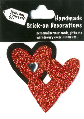 Handmade,(Mini),stick,on,Parts,-,Hearts,stick-on captions, craft, handmade, glitter, Heart, Love