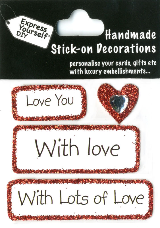 Handmade (Mini) stick on Captions - Heart With Caption Tags - product images