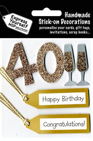 40th,Birthday,Craft, 40th, Birthday, Tags, Flutes, Gold