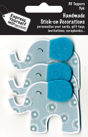 Mini,Multi,Pack,Toppers,-,Blue,Elephant,Craft, DIY, MIP, Make It Personal, Card Making, Personalised, Mini Multipack Toppers, Stick On Decoration, Scrapbooks, 3 pack, 3D, Blue Elephant, Animal