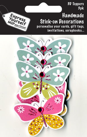 Mini,Multi,Pack,Toppers,-,2,Butterflies,Craft, DIY, MIP, Make It Personal, Card Making, Personalised, Mini Multipack Toppers, Stick On Decoration, Scrapbooks, 3 pack, 3D, Butterflies