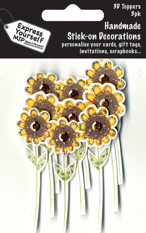 Mini Multi Pack Toppers - 3 Yellow Flowers - product images