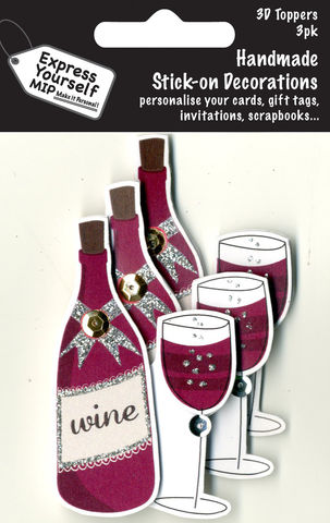 Mini,Multi,Pack,Toppers,-,Red,Wine,Craft, DIY, MIP, Make It Personal, Card Making, Personalised, Mini Multipack Toppers, Stick On Decoration, Scrapbooks, 3 pack, 3D, Red Wine