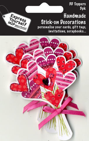 Mini,Multi,Pack,Toppers,-,Bunch,Of,Hearts,Craft, DIY, MIP, Make It Personal, Card Making, Personalised, Mini Multipack Toppers, Stick On Decoration, Scrapbooks, 3 pack, 3D, Bunch Of Hearts