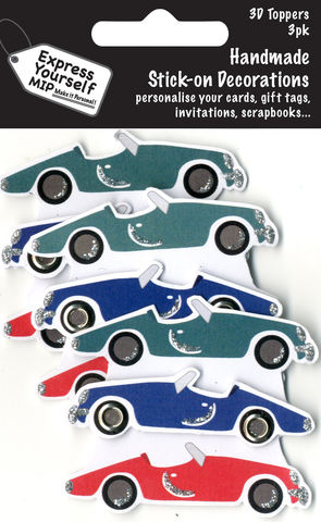 Mini,Multi,Pack,Toppers,-,3,Sports,Cars,Craft, DIY, MIP, Make It Personal, Card Making, Personalised, Mini Multipack Toppers, Stick On Decoration, Scrapbooks, 3 pack, 3D, 3 Sports Cars