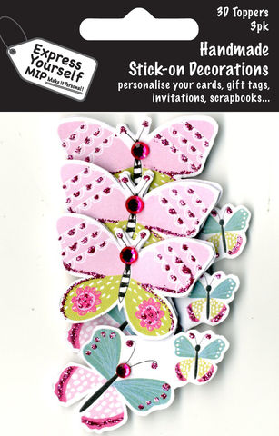 Mini,Multi,Pack,Toppers,-,3,Butterflies,Craft, DIY, MIP, Make It Personal, Card Making, Personalised, Mini Multipack Toppers, Stick On Decoration, Scrapbooks, 3 pack, 3D, 3 Butterflies