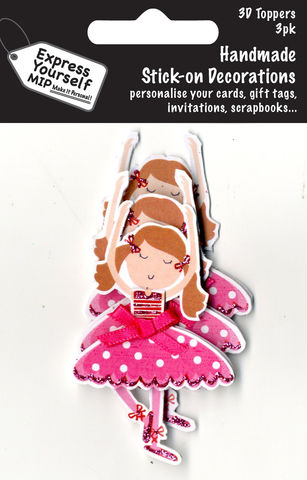 Mini,Multi,Pack,Toppers,-,Ballerina,Craft, DIY, MIP, Make It Personal, Card Making, Personalised, Mini Multipack Toppers, Stick On Decoration, Scrapbooks, 3 pack, 3D, Ballerina