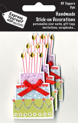 Mini,Multi,Pack,Toppers,-,Cake,With,Candles,Craft, DIY, MIP, Make It Personal, Card Making, Personalised, Mini Multipack Toppers, Stick On Decoration, Scrapbooks, 3 pack, 3D, Cake With Candles
