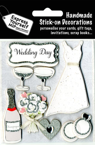 Wedding,Day,-,Dress,,Champagne,,Rings,&,Flowers,Craft, Wedding Day, Dress, Champagne, Rings, Flowers, Couple, Banner, White, Glasses, Flutes, Topper