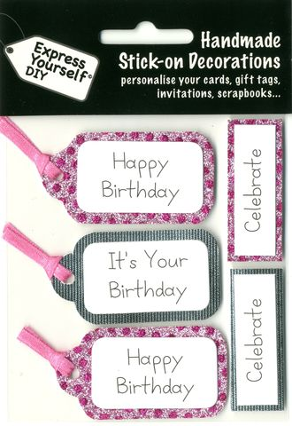 Pink,&,Silver,Banners,Craft, Pink, Silver Banners , Happy Birthday